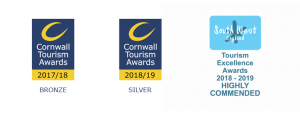 Awards logos won by Porthleven Food Festival